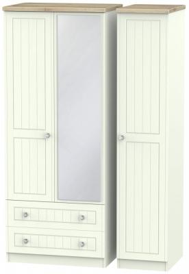 Rome 3 Door 2 Left Drawer Mirror Combi Wardrobe - Bordeaux Oak and Porcelain Ash