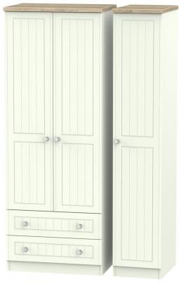 Rome 3 Door 2 Left Drawer Tall Wardrobe - Bordeaux Oak and Porcelain Ash