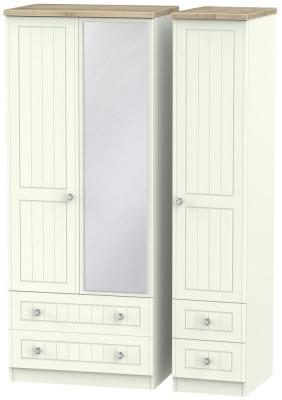 Rome 3 Door 4 Drawer Combi Wardrobe - Bordeaux Oak and Porcelain Ash