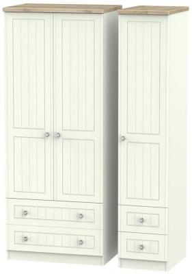 Rome 3 Door 4 Drawer Wardrobe - Bordeaux Oak and Porcelain Ash