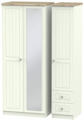 Rome 3 Door 2 Right Drawer Combi Wardrobe - Bordeaux Oak and Porcelain Ash