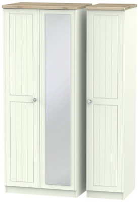 Rome 3 Door Mirror Wardrobe - Bordeaux Oak and Porcelain Ash