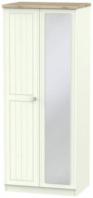 Rome 2 Door Mirror Wardrobe - Bordeaux Oak and Porcelain Ash