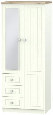 Rome 2 Door 3 Drawer Combi Wardrobe - Bordeaux Oak and Porcelain Ash
