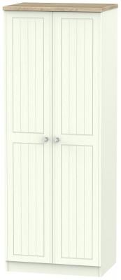 Rome 2 Door Tall Hanging Wardrobe - Bordeaux Oak and Porcelain Ash