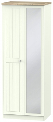 Rome 2 Door Tall Mirror Wardrobe - Bordeaux Oak and Porcelain Ash