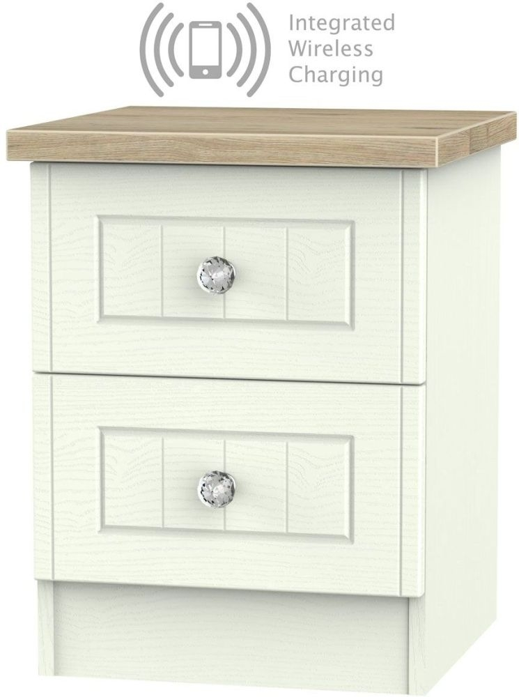 Rome 2 Drawer Bedside Cabinet with Integrated Wireless Charging - Bordeaux Oak and Porcelain Ash