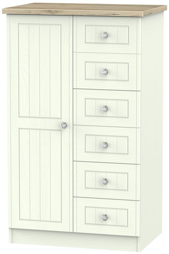 Rome 1 Door Children Wardrobe - Bordeaux Oak and Porcelain Ash