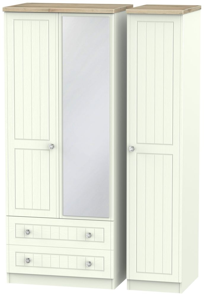 Rome 3 Door 2 Left Drawer Mirror Combi Wardrobe - Bordeaux Oak and Porcelain Ash