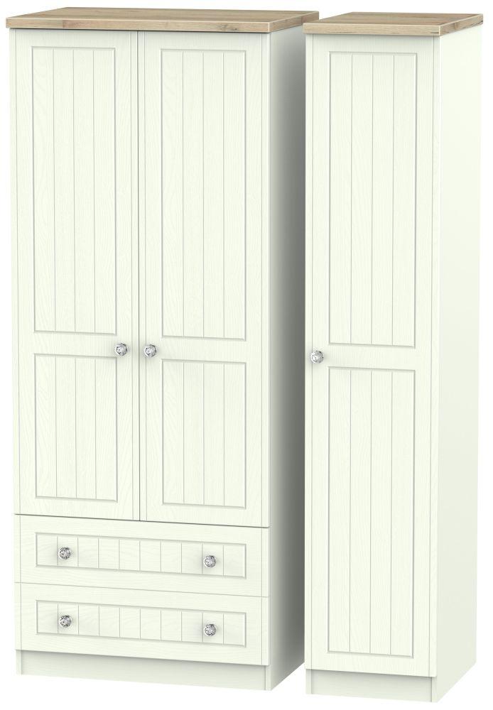 Rome 3 Door 2 Left Drawer Wardrobe - Bordeaux Oak and Porcelain Ash