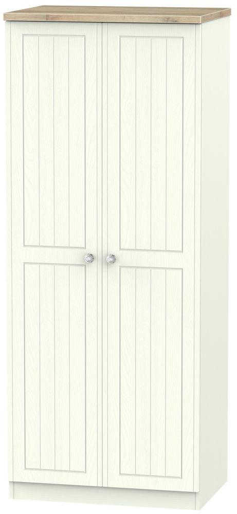 Rome 2 Door Plain Wardrobe - Bordeaux Oak and Porcelain Ash