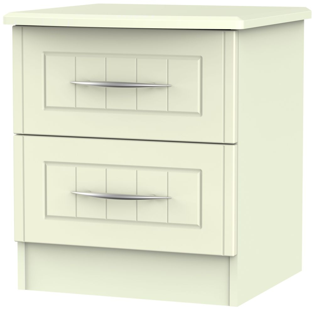 San Francisco Bay Cream Bedside Cabinet - 2 Drawer Locker