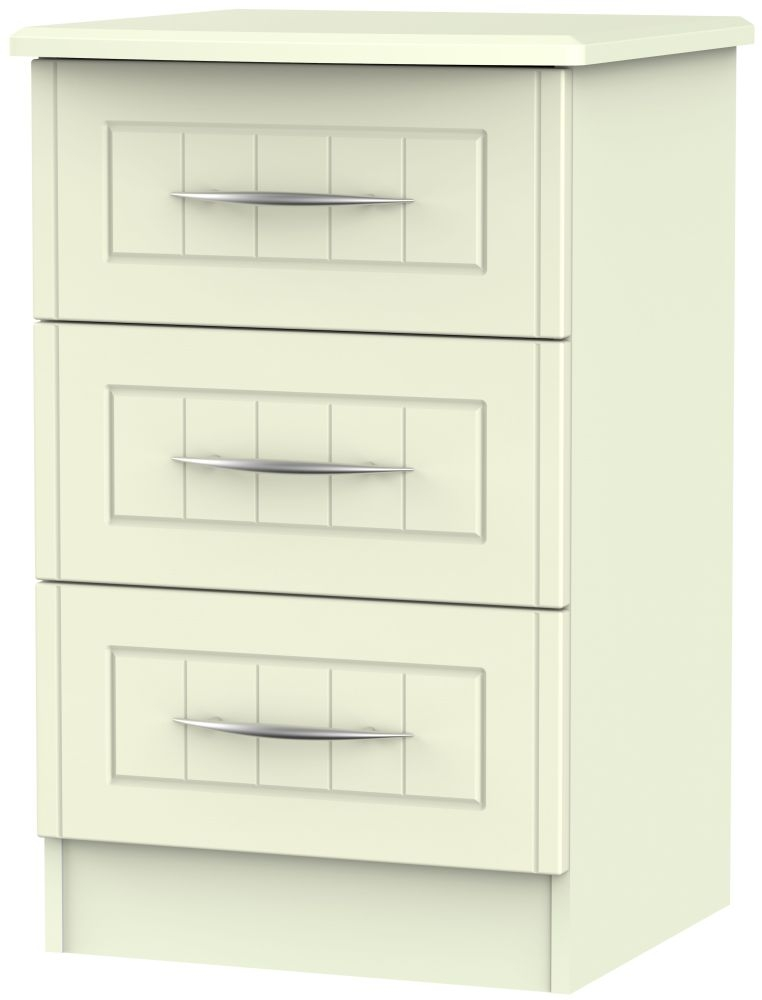 San Francisco Bay Cream Bedside Cabinet - 3 Drawer Locker