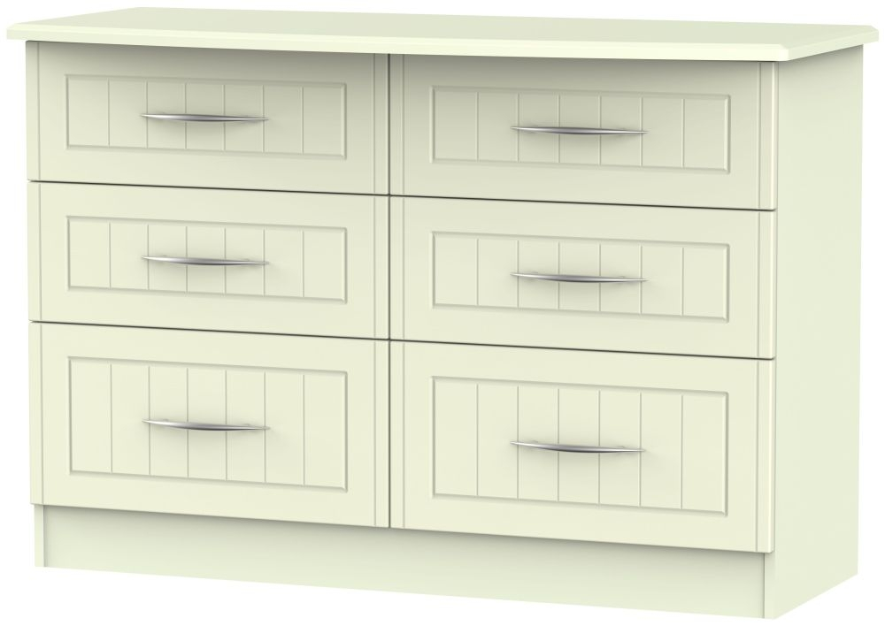 San Francisco Bay Cream Chest of Drawer - 6 Drawer Midi