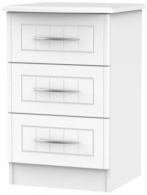 San Francisco Bay White Bedside Cabinet - 3 Drawer Locker