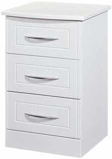 San Francisco Bay White Bedside Cabinet - 3 Drawer