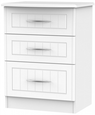 San Francisco Bay White Chest of Drawer - 3 Drawer Deep Midi