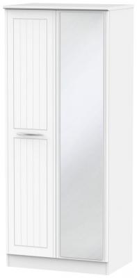 San Francisco Bay White Wardrobe - 2 ft 6in with Mirror