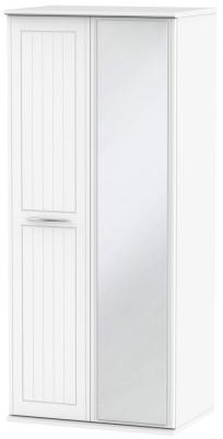 San Francisco Bay White Wardrobe - Double Box with Mirror