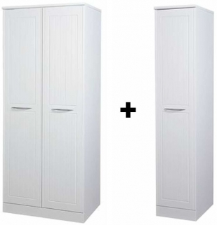 San Francisco Bay White Wardrobe - Double Plain with Single Wardrobe