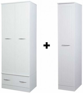 San Francisco Bay White Wardrobe - Double with Drawer and Single Wardrobe