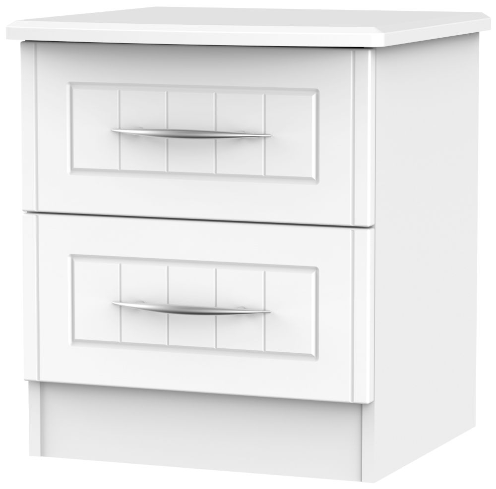 San Francisco Bay White Bedside Cabinet - 2 Drawer Locker