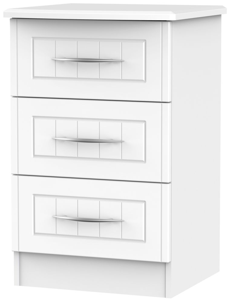 San Francisco Bay White Bedside Cabinet - 3 Drawer Locker
