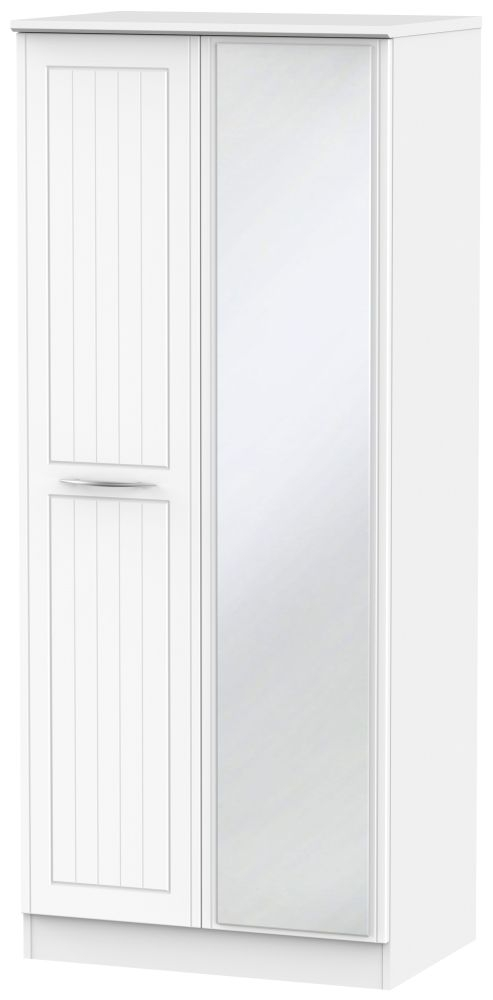 San Francisco Bay White Wardrobe - 2 ft 6in with Mirror