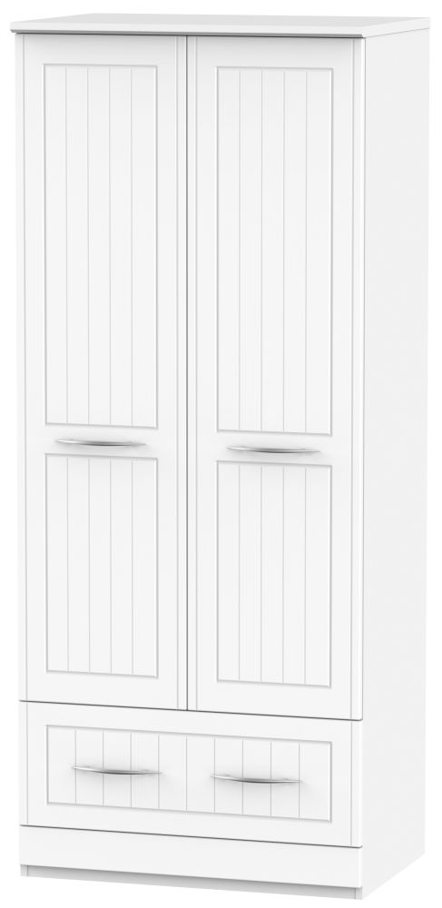 San Francisco Bay White Wardrobe - 2ft 6in 2 Drawer
