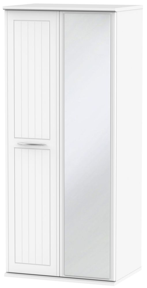San Francisco Bay White Wardrobe - Double Box with Mirror