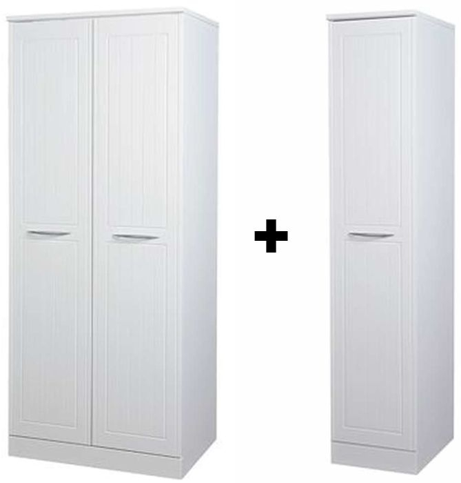 San Francisco Bay White Wardrobe - Double Hanging Plain with Single Wardrobe