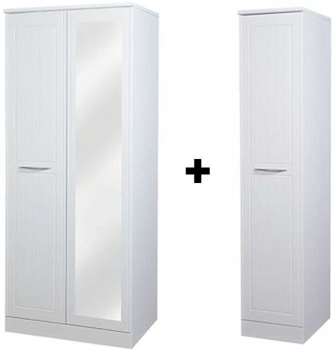 San Francisco Bay White Wardrobe - Double Plain Mirrored with Single Wardrobe