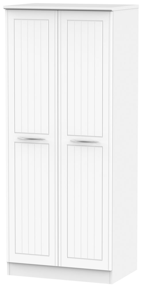 San Francisco Bay White Wardrobe - Double Plain with Double Hanging