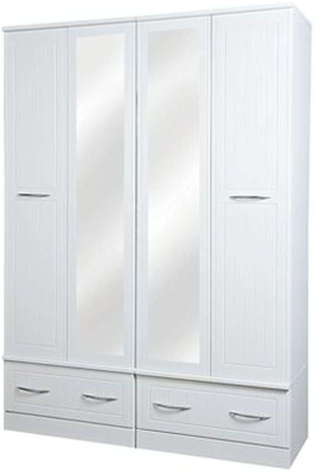San Francisco Bay White Wardrobe - Quad Box with Mirror