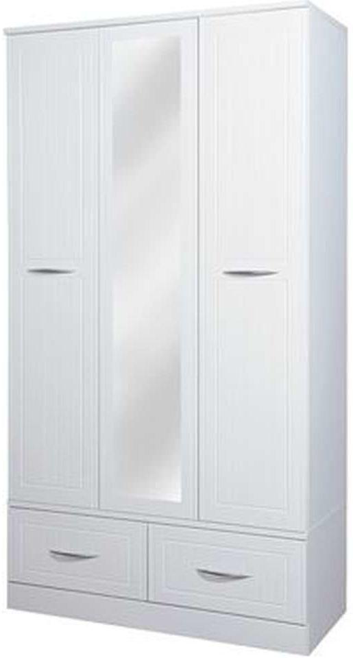 San Francisco Bay White Wardrobe - Triple Box with Mirror