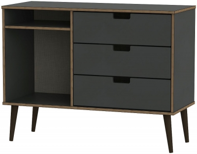 Shanghai Graphite 3 Drawer TV Unit with Black Wooden Legs