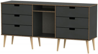 Shanghai Graphite 6 Drawer TV Unit with Natural Wooden Legs