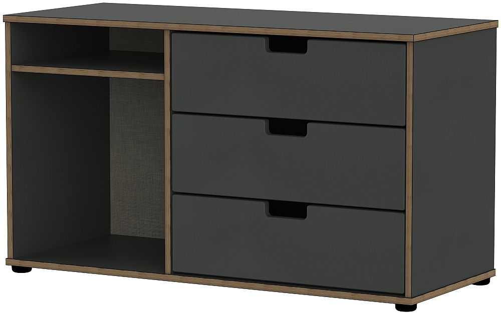 Shanghai Graphite 3 Drawer TV Unit with Glides Legs
