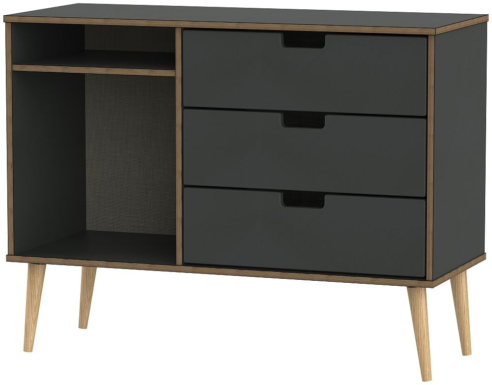 Shanghai Graphite 3 Drawer TV Unit with Natural Wooden Legs