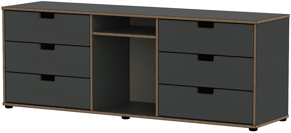 Shanghai Graphite 6 Drawer TV Unit with Glides Legs