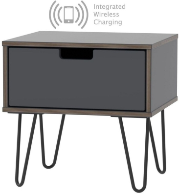 Shanghai Graphite 1 Door Bedside Cabinet with Hairpin Legs and Integrated Wireless Charging