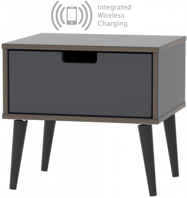 Shanghai Graphite 1 Door Bedside Cabinet with Wooden Legs and Integrated Wireless Charging