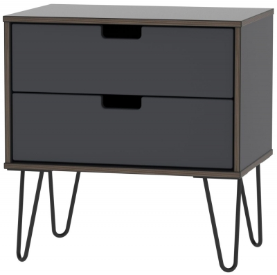 Shanghai Graphite 2 Drawer Midi Chest with Hairpin Legs