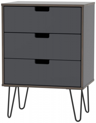 Shanghai Graphite 3 Drawer Chest with Hairpin Legs