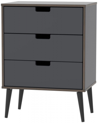 Shanghai Graphite 3 Drawer Chest with Wooden Legs