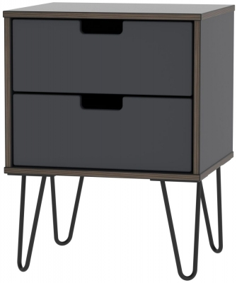 Shanghai Graphite 2 Door Bedside Cabinet with Hairpin Legs