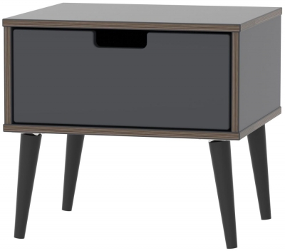 Shanghai Graphite 1 Door Bedside Cabinet with Wooden Legs