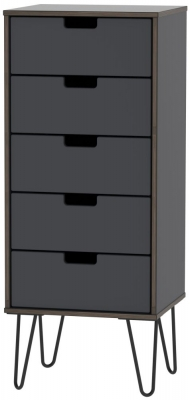 Shanghai Graphite Tall Bedside Cabinet with Hairpin Legs