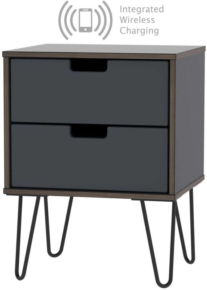 Shanghai Graphite 2 Door Bedside Cabinet with Hairpin Legs and Integrated Wireless Charging