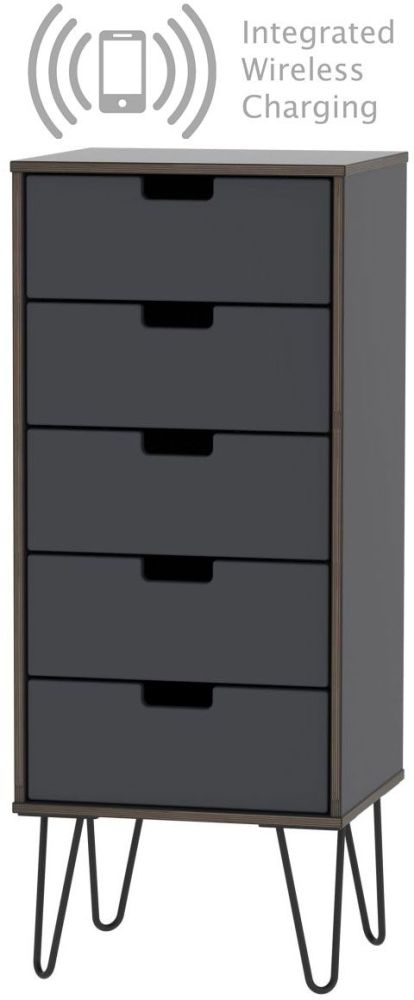Shanghai Graphite Tall Bedside Cabinet with Hairpin Legs and Integrated Wireless Charging